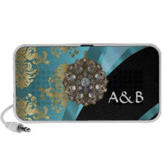 Aqua blue & gold damask faux crystal portable speaker