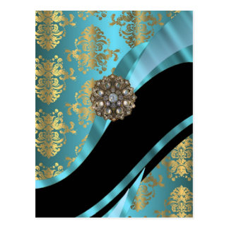 Aqua blue & gold damask faux crystal postcard
