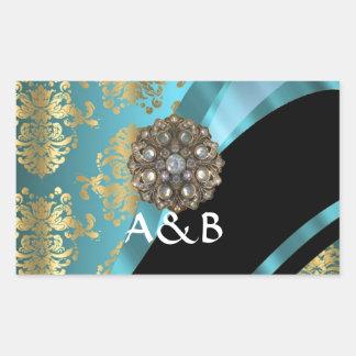 Aqua blue & gold damask faux crystal rectangular sticker