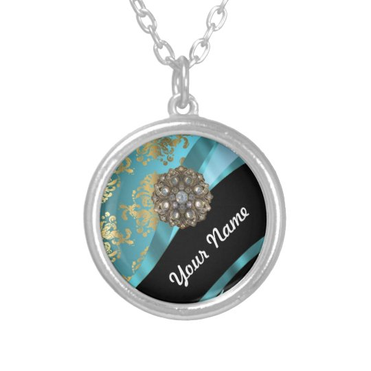 Aqua blue & gold damask faux crystal silver plated necklace
