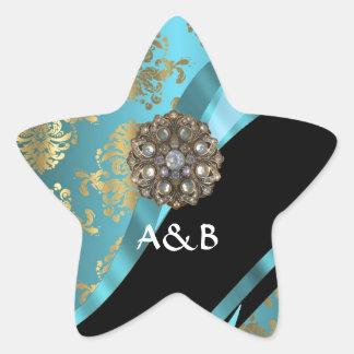 Aqua blue & gold damask faux crystal star sticker