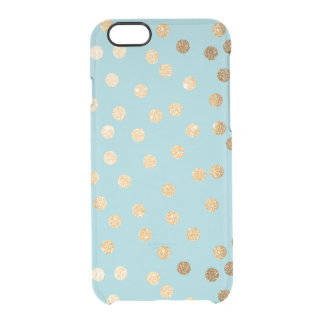 Aqua Blue Gold Glitter Dots Clear Phone Case Uncommon Clearly™ Deflector iPhone 6 Case