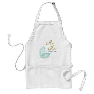 AQUA BLUE GOLD LEAF MOTIVE Personalised Adult Apron