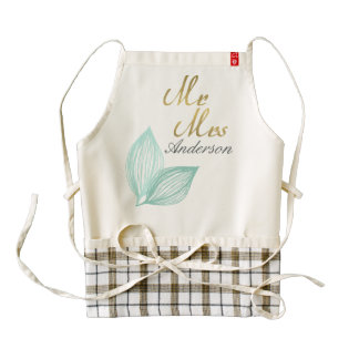 AQUA BLUE GOLD LEAF MOTIVE Personalised Zazzle HEART Apron