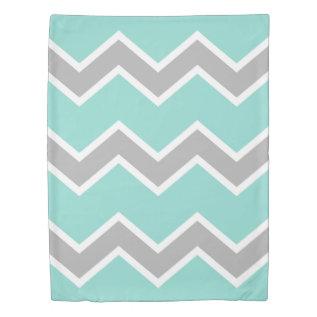 Aqua Blue Gray Grey Chevron Print Pattern Girl Duvet Cover at Zazzle