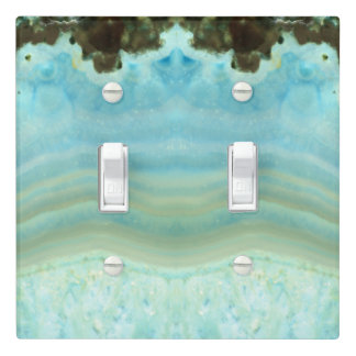 Aqua Blue Gray Precious Stone Jewel Patterns Light Switch Cover