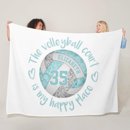 aqua blue gray volleyball court happy place custom fleece blanket