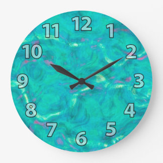 Aqua Blue Green Abstract Art Pattern Large Clock