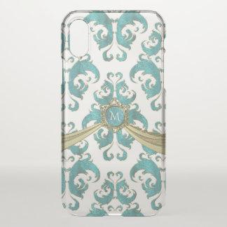 Aqua Blue Green and White Vintage Damask Monogram iPhone X Case