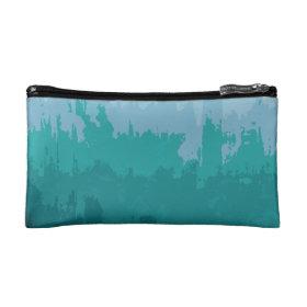 Aqua Blue Green Color Mix Ombre Grunge Design Cosmetics Bags