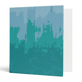 Aqua Blue Green Color Mix Ombre Grunge Design 3 Ring Binder