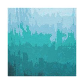 Aqua Blue Green Color Mix Ombre Grunge Design Stretched Canvas Print