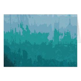 Aqua Blue Green Color Mix Ombre Grunge Design Greeting Cards