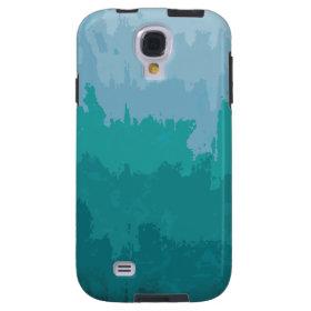 Aqua Blue Green Color Mix Ombre Grunge Design Galaxy S4 Case