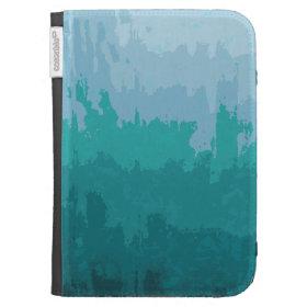 Aqua Blue Green Color Mix Ombre Grunge Design Kindle 3 Cases