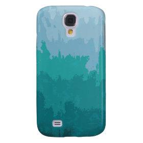 Aqua Blue Green Color Mix Ombre Grunge Design Samsung Galaxy S4 Cases