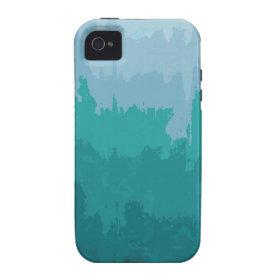 Aqua Blue Green Color Mix Ombre Grunge Design Vibe iPhone 4 Cover