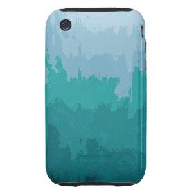 Aqua Blue Green Color Mix Ombre Grunge Design iPhone 3 Tough Cover
