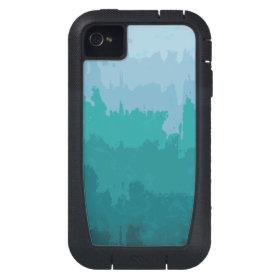 Aqua Blue Green Color Mix Ombre Grunge Design iPhone4 Case