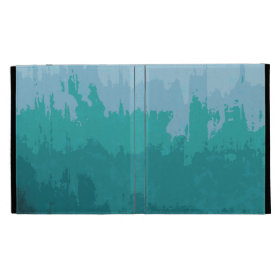 Aqua Blue Green Color Mix Ombre Grunge Design iPad Folio Covers