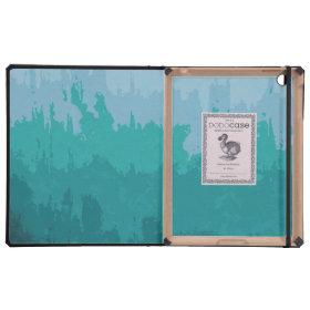 Aqua Blue Green Color Mix Ombre Grunge Design Cases For iPad