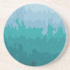Aqua Blue Green Color Mix Ombre Grunge Design Beverage Coaster