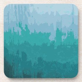 Aqua Blue Green Color Mix Ombre Grunge Design Coasters