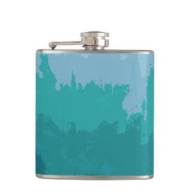 Aqua Blue Green Color Mix Ombre Grunge Design Flask
