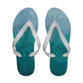 Aqua Blue Green Color Mix Ombre Grunge Design Sandals
