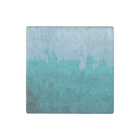 Aqua Blue Green Color Mix Ombre Grunge Design Stone Magnet