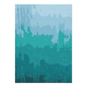 Aqua Blue Green Color Mix Ombre Grunge Design Invitation