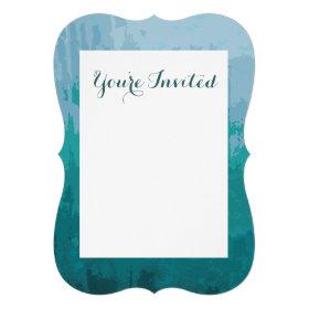 Aqua Blue Green Color Mix Ombre Grunge Design Personalized Announcement