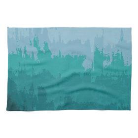 Aqua Blue Green Color Mix Ombre Grunge Design Hand Towels