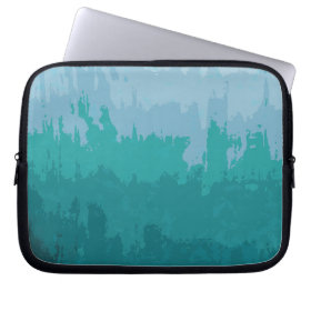 Aqua Blue Green Color Mix Ombre Grunge Design Computer Sleeves