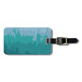 Aqua Blue Green Color Mix Ombre Grunge Design Tag For Bags