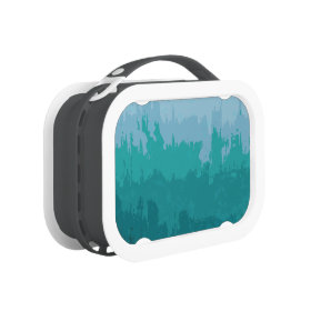 Aqua Blue Green Color Mix Ombre Grunge Design Yubo Lunch Box