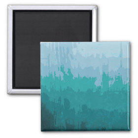 Aqua Blue Green Color Mix Ombre Grunge Design Fridge Magnet