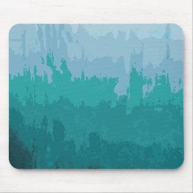 Aqua Blue Green Color Mix Ombre Grunge Design Mouse Pad