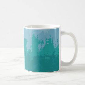 Aqua Blue Green Color Mix Ombre Grunge Design Coffee Mug