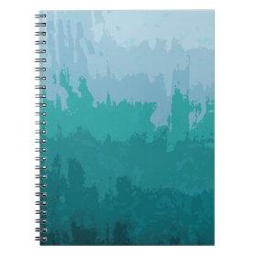 Aqua Blue Green Color Mix Ombre Grunge Design Notebook