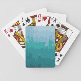 Aqua Blue Green Color Mix Ombre Grunge Design Poker Deck