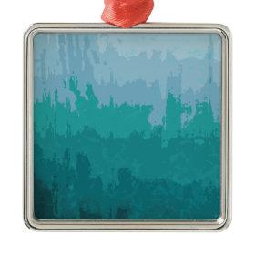 Aqua Blue Green Color Mix Ombre Grunge Design Ornament