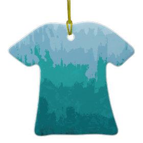 Aqua Blue Green Color Mix Ombre Grunge Design Christmas Tree Ornament