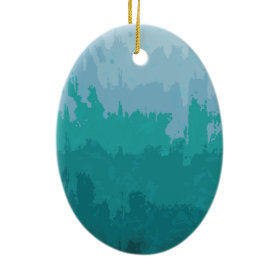 Aqua Blue Green Color Mix Ombre Grunge Design Christmas Tree Ornaments