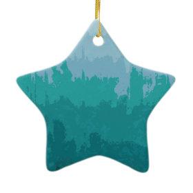 Aqua Blue Green Color Mix Ombre Grunge Design Ornaments