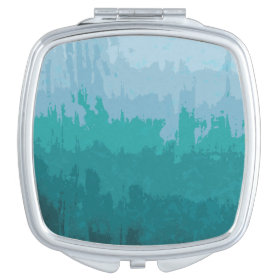 Aqua Blue Green Color Mix Ombre Grunge Design Vanity Mirror