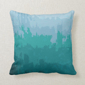 Aqua Blue Green Color Mix Ombre Grunge Design Pillow