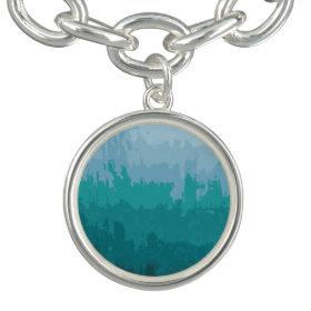 Aqua Blue Green Color Mix Ombre Grunge Design Bracelet