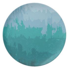Aqua Blue Green Color Mix Ombre Grunge Design Dinner Plate