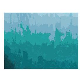 Aqua Blue Green Color Mix Ombre Grunge Design Postcard